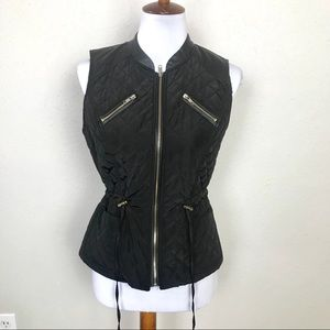 Swoon black quilted and leather vest jacket large